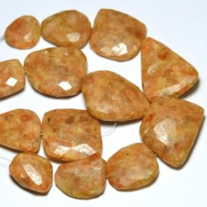 "Shop Sunstone Chip & Nugget Beads! 8.5"" Strand Natural Sunstone Nugget Beads 16mm – 37mm Faceted Big Nuggets Gemstone Beads Rare Sunstone Beads Semi Precious Stone No3278 