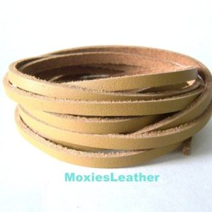 Shop Cord! Tan leather cord – flat leather cord – beige leather cord -Five feet of leather cord | Shop jewelry making and beading supplies, tools & findings for DIY jewelry making and crafts. #jewelrymaking #diyjewelry #jewelrycrafts #jewelrysupplies #beading #affiliate #ad
