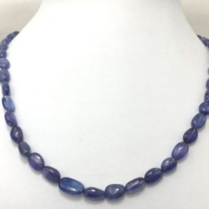 "Shop Tanzanite Necklaces! 125 cts Natural Tanzanite Smooth Tumble 18"" Gemstone Beaded Necklace with Silver Clasp/Tanzanite Necklace/Beaded Necklace/Blue Beads 