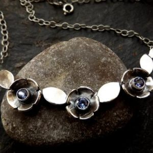 Silver bar necklace choker with silver flowers , leaves and tanzanite cz | Natural genuine Gemstone necklaces. Buy crystal jewelry, handmade handcrafted artisan jewelry for women.  Unique handmade gift ideas. #jewelry #beadednecklaces #beadedjewelry #gift #shopping #handmadejewelry #fashion #style #product #necklaces #affiliate #ad