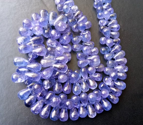 4x6mm - 6x12mm Tanzanite Plain Drops, Natural Tanzanite Plain Teardrop Beads, Tanzanite Necklace, Tanzanite Jewelry (7.5in To 15in Options)