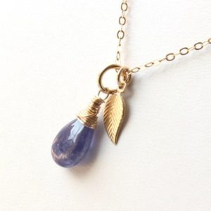 Shop Tanzanite Pendants! Tanzanite Pendant or Necklace Gold Filled wire wrapped natural violet blue gemstone leaf charm minimalist dainty solitaire choker gift 5983 | Natural genuine Tanzanite pendants. Buy crystal jewelry, handmade handcrafted artisan jewelry for women.  Unique handmade gift ideas. #jewelry #beadedpendants #beadedjewelry #gift #shopping #handmadejewelry #fashion #style #product #pendants #affiliate #ad