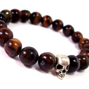 Shop Tiger Eye Bracelets! Tiger Eye Mens Bracelet 10mm, Mens Skull Bracelet, Mens Gift, Natural Gemstone Mens Bracelet, Mens Beaded Bracelet, Gift for Men for Him | Natural genuine Tiger Eye bracelets. Buy handcrafted artisan men's jewelry, gifts for men.  Unique handmade mens fashion accessories. #jewelry #beadedbracelets #beadedjewelry #shopping #gift #handmadejewelry #bracelets #affiliate #ad
