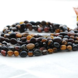"Shop Tiger Eye Chip & Nugget Beads! High Quality Grade A Multi-colour Tiger Eye Semi-precious Gemstone Tumbled Stone Nugget Pebble Beads – Approx 5mm – 8mm – 15.5"" Strand 