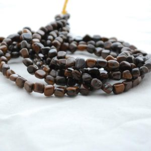 "Shop Tiger Eye Chip & Nugget Beads! High Quality Grade A Natural Tiger Eye Iron Semi-Precious Gemstone Tumbled Stone Nugget Pebble Beads – approx 5mm – 8mm – 15.5"" strand 