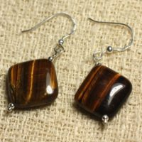 925 Silver – Rhombus 19mm Tiger Eye Earrings | Natural genuine Gemstone jewelry. Buy crystal jewelry, handmade handcrafted artisan jewelry for women.  Unique handmade gift ideas. #jewelry #beadedjewelry #beadedjewelry #gift #shopping #handmadejewelry #fashion #style #product #jewelry #affiliate #ad