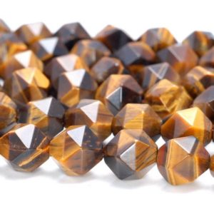 "Shop Tiger Eye Faceted Beads! 6MM Yellow Tiger Eye Beads Star Cut Faceted Grade AAA Genuine Natural Gemstone Loose Beads 7.5"" BULK LOT 1,3,5,10 and 50 (80005210 H-M20) 