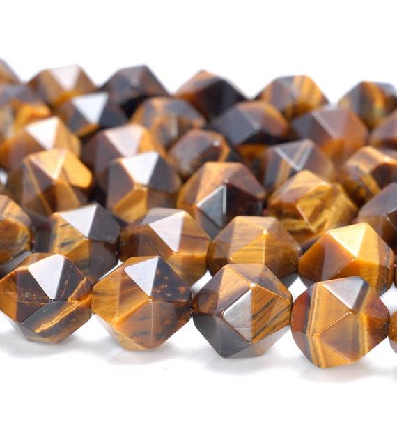 """6mm Yellow Tiger Eye Beads Star Cut Faceted Grade Aaa Genuine Natural Gemstone Loose Beads 7.5"""" Bulk Lot 1,3,5,10 And 50 (80005210 H-m20)"""