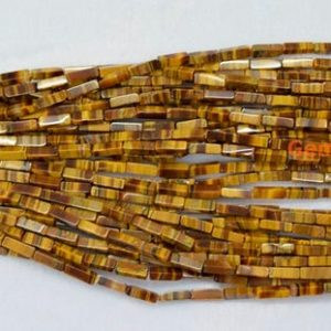 "Shop Tiger Eye Beads! 15.5"" Yellow tiger eye rectangle tube 4x13mm, Natural yellow gemstone tube, High quality DIY beads supply, semi precious stone 