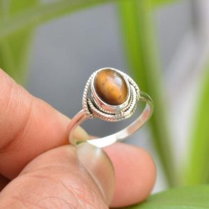 Shop Tiger Eye Rings! Tiger Eye Ring, 925 Silver Rings, 7×9 mm Oval Tiger Eye Ring, Gemstone Jewelry, Oxidized Ring, Tiger Eye Gemstone Ring, Gemstone Silver Ring   Natural genuine Tiger Eye rings, simple unique handcrafted gemstone rings. #rings #jewelry #shopping #gift #handmade #fashion #style #affiliate #ad