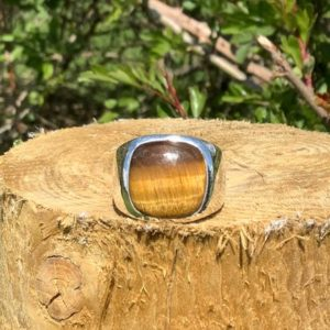 Shop Tiger Eye Rings! Tiger Eye Ring, Chunky Silver Mens' Gemstone Ring, Large Brown Stone Silver Ring, Gift for Husband or Boyfriend   Natural genuine Tiger Eye rings, simple unique handcrafted gemstone rings. #rings #jewelry #shopping #gift #handmade #fashion #style #affiliate #ad
