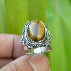 Shop Tiger Eye Rings! Tiger Eye Ring   Handmade Silver Ring   13×18 mm Oval Tiger Eye Ring   Men's Tiger Eye Ring   Stone Ring   Anniversary Ring   Promise Ring   Natural genuine Tiger Eye rings, simple unique handcrafted gemstone rings. #rings #jewelry #shopping #gift #handmade #fashion #style #affiliate #ad
