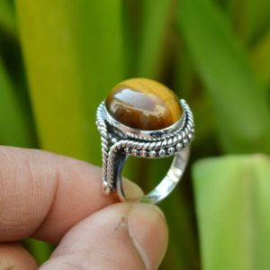 Shop Tiger Eye Jewelry! Natural Tiger Eye Ring, Silver Rings, Gemstone Jewelry, 12×16 mm Oval Tiger Eye Ring, Oxidized Silver Rings, Rings Supplier, Gemstone Ring | Natural genuine Tiger Eye jewelry. Buy crystal jewelry, handmade handcrafted artisan jewelry for women.  Unique handmade gift ideas. #jewelry #beadedjewelry #beadedjewelry #gift #shopping #handmadejewelry #fashion #style #product #jewelry #affiliate #ad