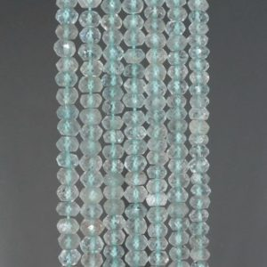 Shop Topaz Faceted Beads! 4x2mm Sky Blue Topaz Gemstone Grade A Faceted Rondelle Loose Beads 13 inch Full Strand (90184359-852) | Natural genuine faceted Topaz beads for beading and jewelry making.  #jewelry #beads #beadedjewelry #diyjewelry #jewelrymaking #beadstore #beading #affiliate #ad