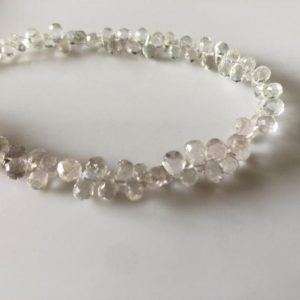 Shop Topaz Bead Shapes! 6mm to 7mm White Topaz Faceted Teardrop Beads, Natural Gemstones White Topaz Briolettes Beads, Sold As 5 Inch/10 Inch Strand, GDS1815 | Natural genuine other-shape Topaz beads for beading and jewelry making.  #jewelry #beads #beadedjewelry #diyjewelry #jewelrymaking #beadstore #beading #affiliate #ad