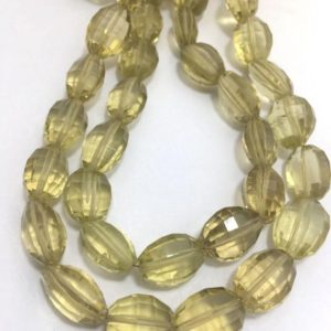 """Lemon Topaz Step cut oval 8x10mm to 10x14mm 8"""" Semiprecious Beads Strand/Yellow Beads/Oval beads/Lemon Topaz 