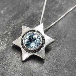 Shop Topaz Pendants! Star Pendant, Blue Topaz Pendant, Natural Blue Topaz, December Birthstone, Star Of David Pendant, Vintage Star Pendant, Solid Silver Pendant | Natural genuine Topaz pendants. Buy crystal jewelry, handmade handcrafted artisan jewelry for women.  Unique handmade gift ideas. #jewelry #beadedpendants #beadedjewelry #gift #shopping #handmadejewelry #fashion #style #product #pendants #affiliate #ad