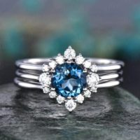 3pcs London Blue Topaz Engagement Ring Set Rose Gold Topaz Ring Vintage White Gold Moissanite Matching Stack Women Wedding Bridal Ring Set | Natural genuine Gemstone jewelry. Buy handcrafted artisan wedding jewelry.  Unique handmade bridal jewelry gift ideas. #jewelry #beadedjewelry #gift #crystaljewelry #shopping #handmadejewelry #wedding #bridal #jewelry #affiliate #ad
