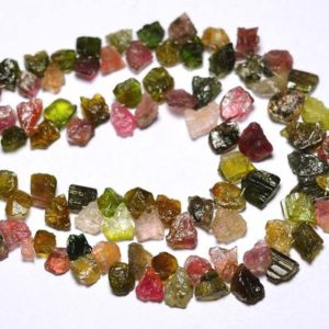 Shop Tourmaline Chip & Nugget Beads! 8 Inches Strand Natural Multi Tourmaline Rough Beads 6x8mm to 9x9mm Natural Shape Raw Gemstone Beads Superb Tourmaline Beads No2838 | Natural genuine chip Tourmaline beads for beading and jewelry making.  #jewelry #beads #beadedjewelry #diyjewelry #jewelrymaking #beadstore #beading #affiliate #ad