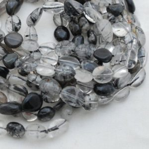 """Shop Tourmaline Chip & Nugget Beads! High Quality Grade A Natural Black Rutilated Tourmaline Quartz Gemstone Pebble Tumbled Stone Nugget Beads – approx 7mm-10mm – 15"""" strand 