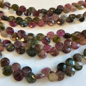 "Shop Tourmaline Faceted Beads! Natural Tourmaline 6x6x3mm Faceted Teardrop Gemstone Beads–7""–1 strand/3 strands–26 