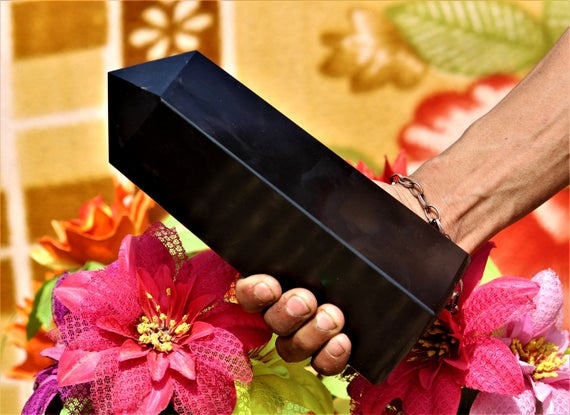 Very Large And Fat 4 Sided 210mm 21cm Black Tourmaline Metaphysical Healing Obelisk Tower