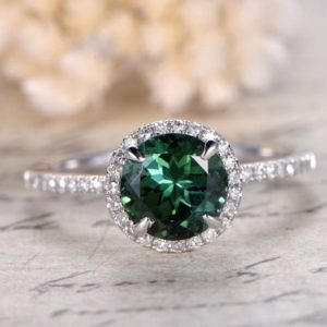 7mm Round Cut Green Tourmaline Engagement Ring Tourmaline halo Ring 14K White Gold Tourmaline Ring October Birthstone Ring Pave Diamond Ring | Natural genuine Tourmaline rings, simple unique alternative gemstone engagement rings. #rings #jewelry #bridal #wedding #jewelryaccessories #engagementrings #weddingideas #affiliate #ad