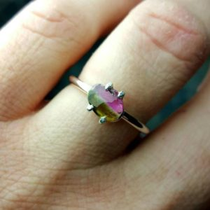 Shop Watermelon Tourmaline Rings! Tourmaline Ring, Watermelon Tourmaline Ring, Tourmaline Slice Ring, Pink Tourmaline Ring, Unique Ring, Tourmaline Jewelry | Natural genuine Watermelon Tourmaline rings, simple unique handcrafted gemstone rings. #rings #jewelry #shopping #gift #handmade #fashion #style #affiliate #ad