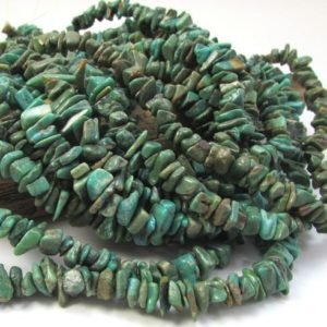 "Shop Turquoise Chip & Nugget Beads! Turquoise Beads, Genuine Green Turquoise Chips, 15"" inch Strand, Small Turquoise Chips, Jewelry Supplies, Beading Supplies, Item 1551gst 