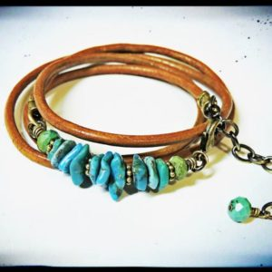Shop Turquoise Bracelets! Genuine Turquoise and Greek Tabacco Leather Wrap Bracelet | Natural genuine Turquoise bracelets. Buy crystal jewelry, handmade handcrafted artisan jewelry for women.  Unique handmade gift ideas. #jewelry #beadedbracelets #beadedjewelry #gift #shopping #handmadejewelry #fashion #style #product #bracelets #affiliate #ad