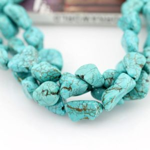 Shop Turquoise Chip & Nugget Beads! 10x15mm Turquoise Beads,Blue Turquoise Nugget Beads ,Irregular Blue Stone Beads,Gemstone Beads,Jewelry making beads–16 inches–29 Pcs-BT024 | Natural genuine chip Turquoise beads for beading and jewelry making.  #jewelry #beads #beadedjewelry #diyjewelry #jewelrymaking #beadstore #beading #affiliate #ad