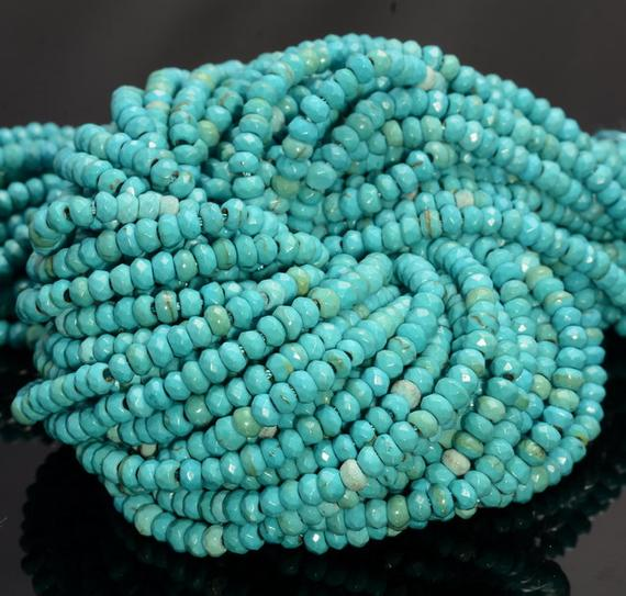 4x3mm Turquoise Gemstone Faceted Rondelle Beads 14 Inch Full Strand (80007243-a251)