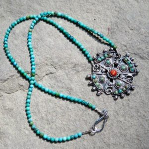 Shop Turquoise Necklaces! Matilde Poulat Jewelry, Turquoise Necklace, Vintage Taxco Jewelry | Natural genuine Turquoise necklaces. Buy crystal jewelry, handmade handcrafted artisan jewelry for women.  Unique handmade gift ideas. #jewelry #beadednecklaces #beadedjewelry #gift #shopping #handmadejewelry #fashion #style #product #necklaces #affiliate #ad