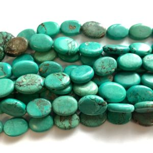 Shop Turquoise Bead Shapes! Turquoise (18-20)x(13-15)mm flat oval gemstone beads –15.5  inch–1 strand/3 strands | Natural genuine other-shape Turquoise beads for beading and jewelry making.  #jewelry #beads #beadedjewelry #diyjewelry #jewelrymaking #beadstore #beading #affiliate #ad
