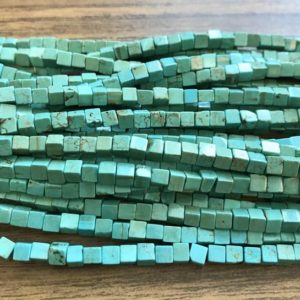 """Shop Turquoise Bead Shapes! natural turquoise 4x4mm square Gemstone Beads -15.5""""–1 strand/3 strands 