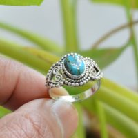 Copper Turquoise Ring, Oxidized Silver Ring, 925 Silver Rings, 7×9 Mm Oval Turquoise Ring, Women Rings, Gemstone Ring, Blue Turquoise Ring | Natural genuine Gemstone jewelry. Buy crystal jewelry, handmade handcrafted artisan jewelry for women.  Unique handmade gift ideas. #jewelry #beadedjewelry #beadedjewelry #gift #shopping #handmadejewelry #fashion #style #product #jewelry #affiliate #ad