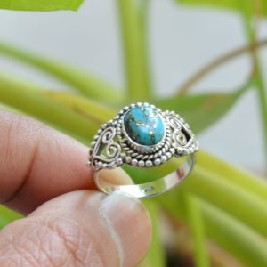 Shop Turquoise Rings! Copper Turquoise Ring, Oxidized Silver Ring, 925 Silver Rings, 7×9 mm Oval Turquoise Ring, Women Rings, Gemstone Ring, Blue Turquoise Ring | Natural genuine Turquoise rings, simple unique handcrafted gemstone rings. #rings #jewelry #shopping #gift #handmade #fashion #style #affiliate #ad