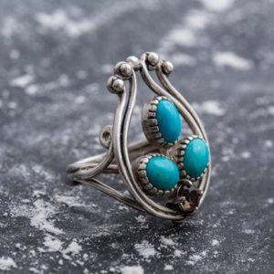 Shop Turquoise Rings! Turquoise Ring, Natural Turquoise, December Birthstone, Harp Ring, Arizona Turquoise, 6 Carats, Sleeping Beauty Turquoise, Solid Silver Ring | Natural genuine Turquoise rings, simple unique handcrafted gemstone rings. #rings #jewelry #shopping #gift #handmade #fashion #style #affiliate #ad