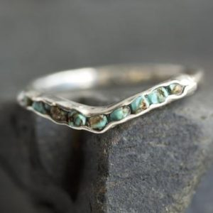 Shop Turquoise Rings! Natural Turquoise Wave Chevron Ring. Genuine Arizona Turquoise Wave Ring. Turquoise Chevron Ring. Turquoise Wedding Wave Chevron Ring | Natural genuine Turquoise rings, simple unique alternative gemstone engagement rings. #rings #jewelry #bridal #wedding #jewelryaccessories #engagementrings #weddingideas #affiliate #ad