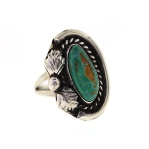 Shop Turquoise Rings! Vintage Turquoise Ring, Sterling Silver Turquoise Ring, Rope & Leaf Design Southwestern Jewelry | Natural genuine Turquoise rings, simple unique handcrafted gemstone rings. #rings #jewelry #shopping #gift #handmade #fashion #style #affiliate #ad