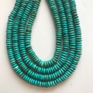 Shop Turquoise Rondelle Beads! 100% natural turquoise 10x(2-4)mm rondelle gemstone beads–15.5 Inch | Natural genuine rondelle Turquoise beads for beading and jewelry making.  #jewelry #beads #beadedjewelry #diyjewelry #jewelrymaking #beadstore #beading #affiliate #ad