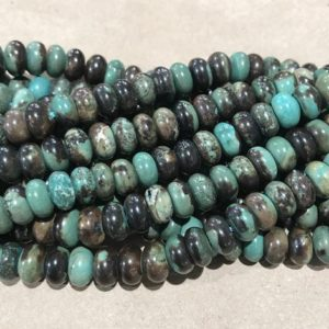 Shop Turquoise Rondelle Beads! Turquoise 8x5mm rondelle gemstone beads –15.5  inch gemmstone Bead | Natural genuine rondelle Turquoise beads for beading and jewelry making.  #jewelry #beads #beadedjewelry #diyjewelry #jewelrymaking #beadstore #beading #affiliate #ad