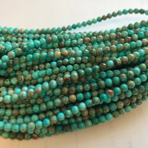 Shop Turquoise Round Beads! Chinese Turquoise 4mm 6mm Round Gemstone Beads–15.5 inch strand   Natural genuine round Turquoise beads for beading and jewelry making.  #jewelry #beads #beadedjewelry #diyjewelry #jewelrymaking #beadstore #beading #affiliate #ad