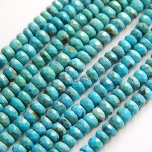 "Turquoise Sleeping Beauty Faceted Beads Rondelle Shape 4×3.MM Approx 13""Inches Natural Top Quality Wholesale Price 