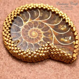 Shop Jewelry Making Tutorials! Tutorial bead embroidered Ammonite, beading tutorial, Ammonite bezeling tutorial, Fossil beading tutorial, beading pattern, PDF tutorial | Shop jewelry making and beading supplies, tools & findings for DIY jewelry making and crafts. #jewelrymaking #diyjewelry #jewelrycrafts #jewelrysupplies #beading #affiliate #ad
