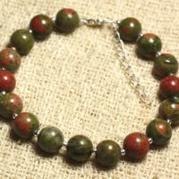 Bracelet 925 Sterling Silver And Gemstone – Unakite 8 Mm | Natural genuine Gemstone jewelry. Buy crystal jewelry, handmade handcrafted artisan jewelry for women.  Unique handmade gift ideas. #jewelry #beadedjewelry #beadedjewelry #gift #shopping #handmadejewelry #fashion #style #product #jewelry #affiliate #ad