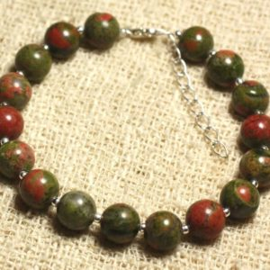 Shop Unakite Bracelets! Bracelet 925 sterling silver and gemstone – Unakite 8 mm | Natural genuine Unakite bracelets. Buy crystal jewelry, handmade handcrafted artisan jewelry for women.  Unique handmade gift ideas. #jewelry #beadedbracelets #beadedjewelry #gift #shopping #handmadejewelry #fashion #style #product #bracelets #affiliate #ad