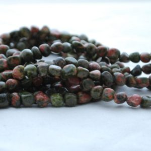 "Shop Unakite Chip & Nugget Beads! High Quality Grade A Natural Unakite Semi-Precious Gemstone Tumbled Stone Nugget Pebble Beads – approx 5mm – 8mm – 15.5"" long 