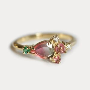 Unique Green pink Engagement Ring, Watermelon Tourmaline Ring With Emeralds, Unique Cluster Style Ring | Natural genuine Gemstone rings, simple unique alternative gemstone engagement rings. #rings #jewelry #bridal #wedding #jewelryaccessories #engagementrings #weddingideas #affiliate #ad
