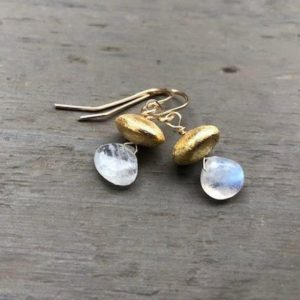 Shop Rainbow Moonstone Earrings! Vermeil Rainbow Moonstone Pear Earrings | Natural genuine Rainbow Moonstone earrings. Buy crystal jewelry, handmade handcrafted artisan jewelry for women.  Unique handmade gift ideas. #jewelry #beadedearrings #beadedjewelry #gift #shopping #handmadejewelry #fashion #style #product #earrings #affiliate #ad